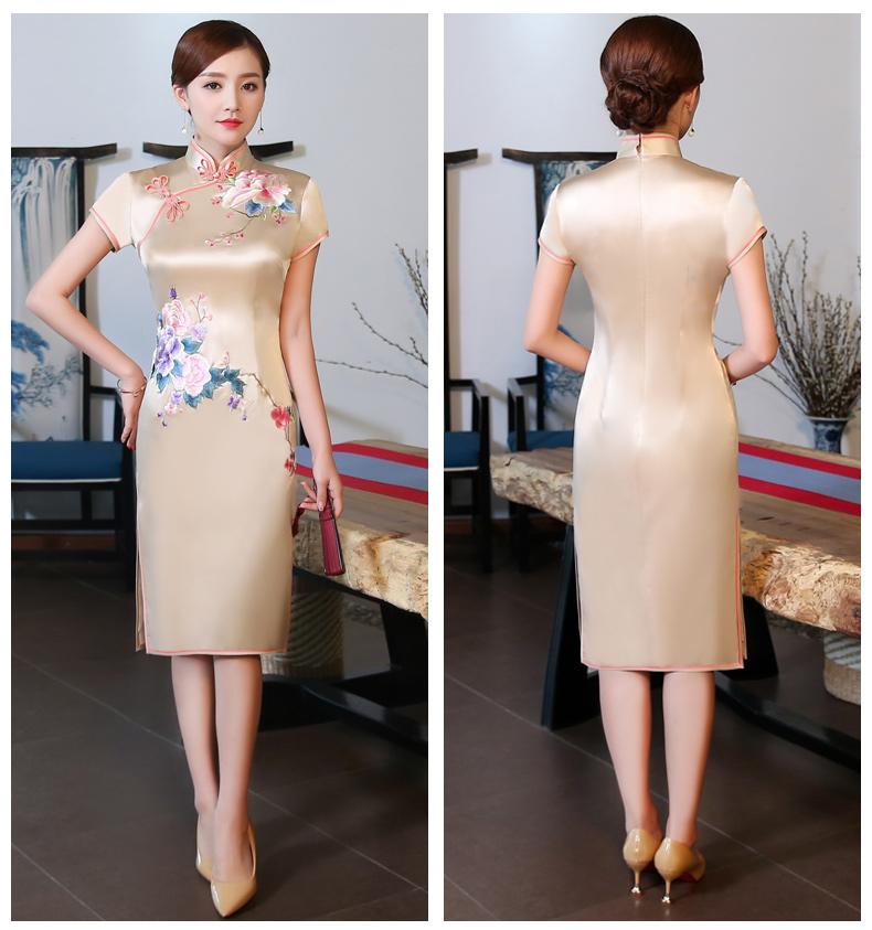 金牡丹刺绣旗袍,复古唯美旗袍裙