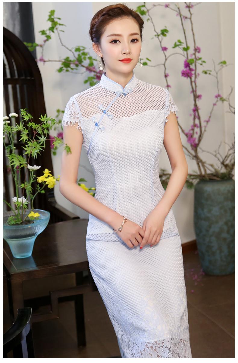 清爽伊人淡蓝色旗袍,网状镂空旗袍裙
