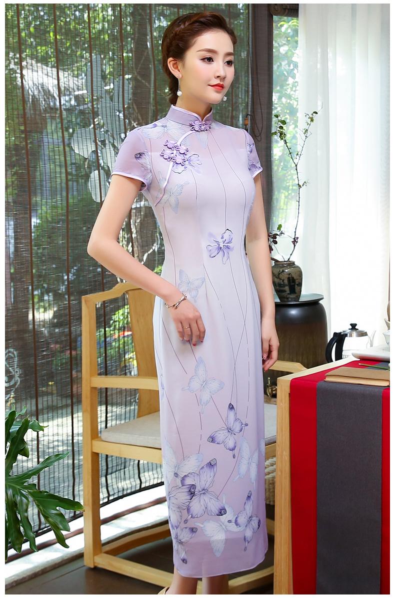 淡紫色旗袍,紫蝶唯美旗袍裙