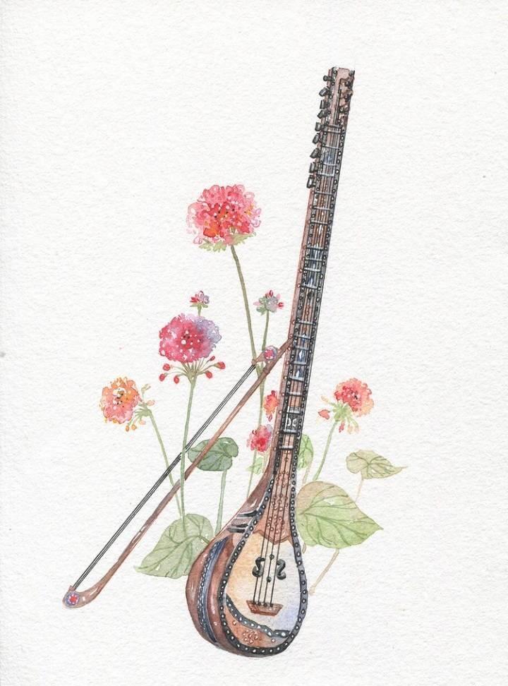 9款唯美古风图片:一组古风乐器插画!