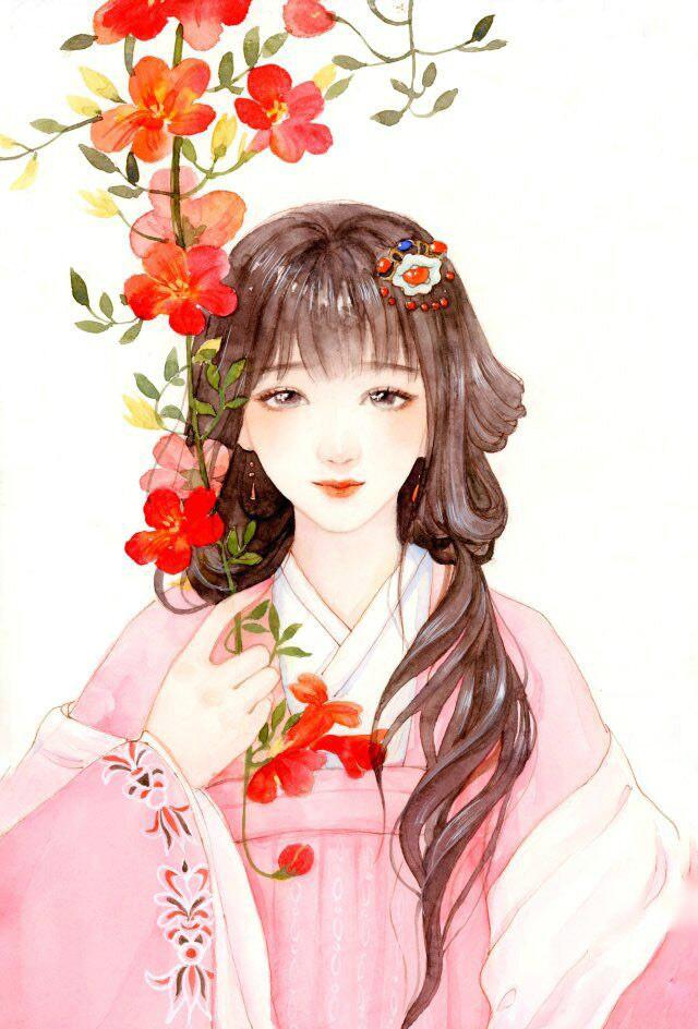如花美女图片_十款唯美古风图片:一组古风女子插画- 中国风