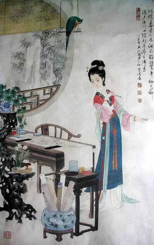 冯其庸国画作品:手绘《红楼梦》人物图美呆了