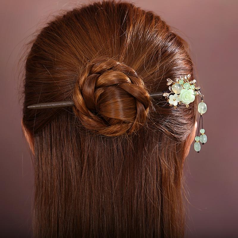 淡绿古风花朵发簪:古典素雅簪子头饰