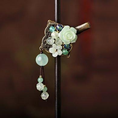 复古小花朵发夹头饰:彰显古典