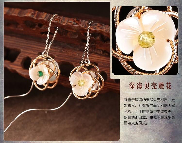 雅芊古风耳环,纯银耳线首饰