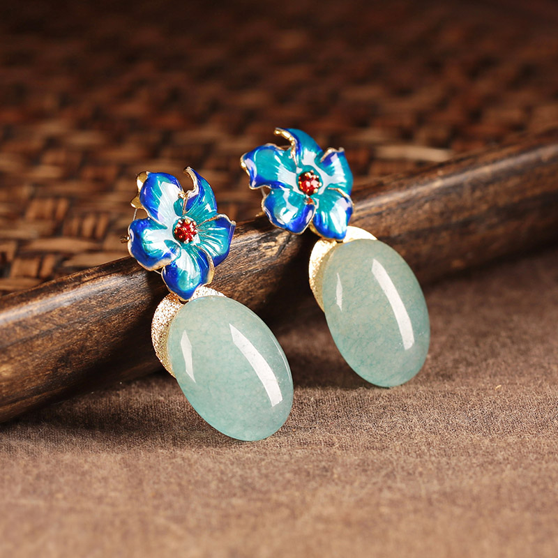 清水蓝香古风耳环,幽蓝意境耳钉首饰