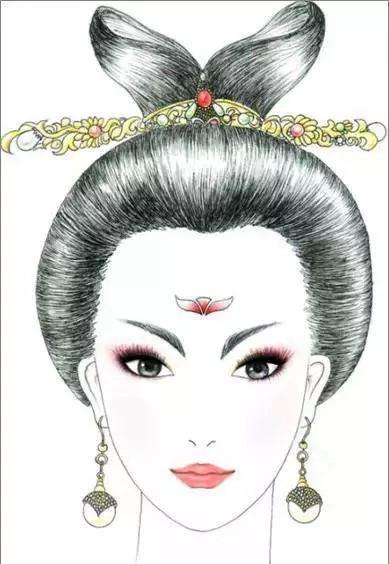 唐朝头饰_八款各朝代古装发型:一组手绘彩铅古装发型- 中国风