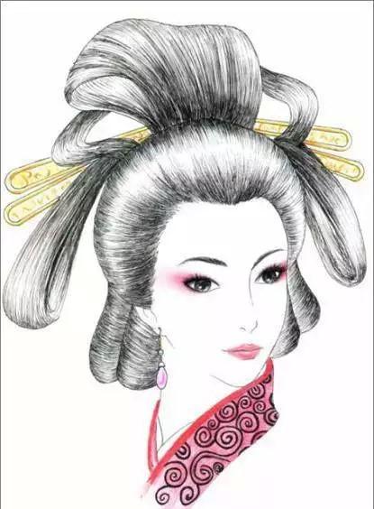 八款各朝代古装发型:一组手绘彩铅古装发型