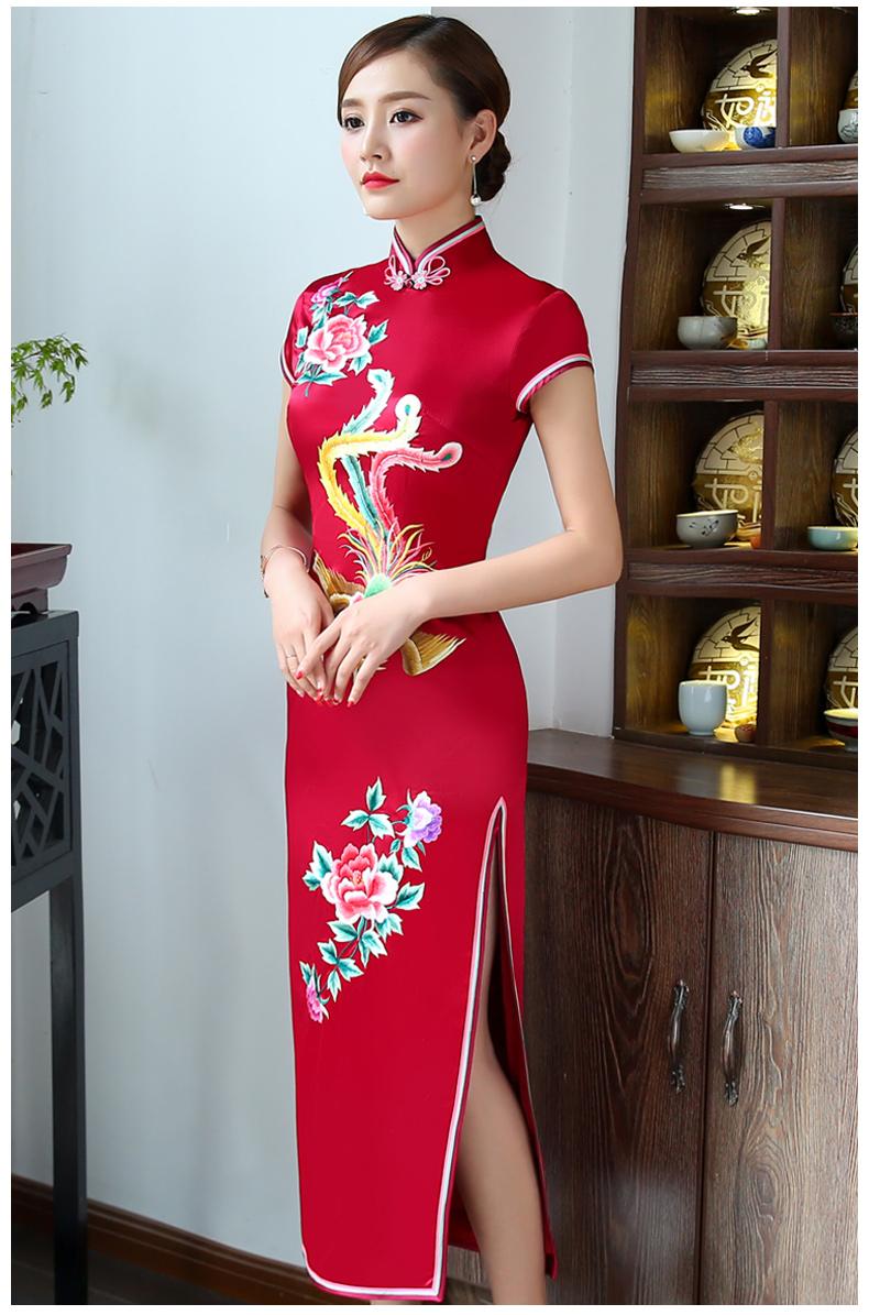 一生一世一双人:艳丽牡丹凤凰刺绣新娘旗袍