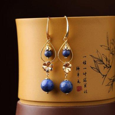 民族风森系耳环,水墨蓝纹石首