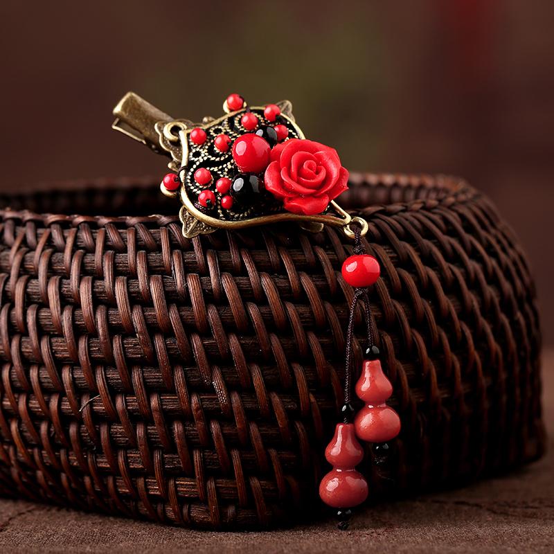 红色雕漆复古头饰,玫瑰花朵发夹