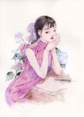 9款风情万种旗袍女子插画:一种