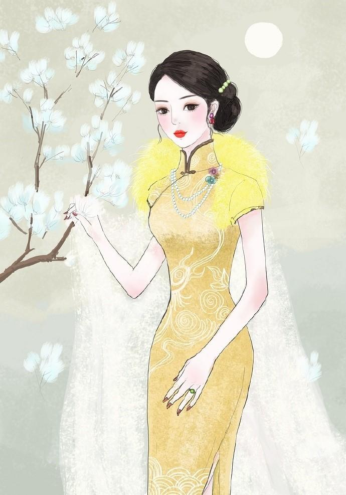 9款风情万种旗袍女子插画:一种倾国倾城的美