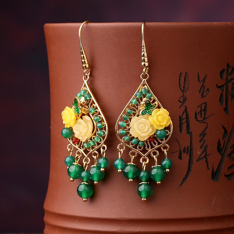 凤栖梧古典耳环:超仙绿色森系耳环首饰