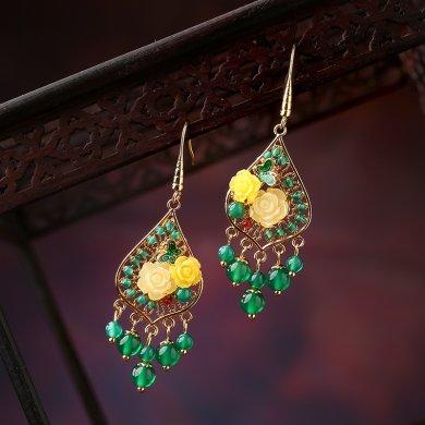 凤栖梧古典耳环:超仙绿色森系