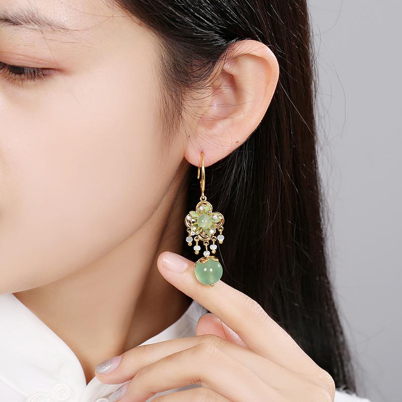 绿色森系花朵耳饰,小清新气质耳环