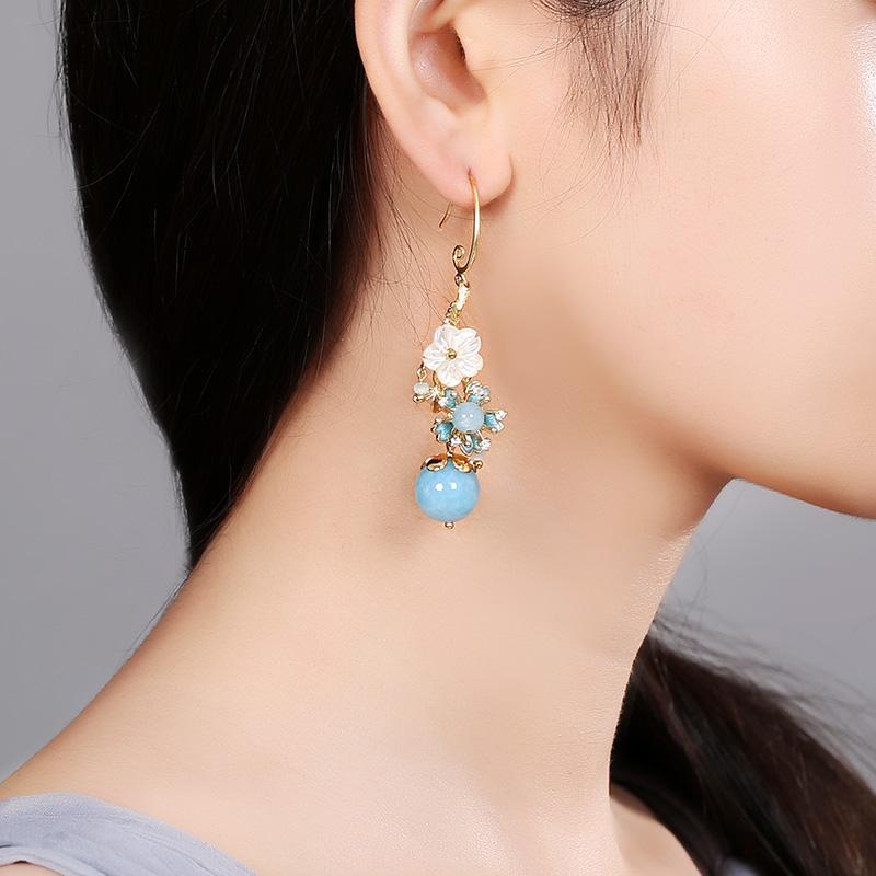 淡蓝海风系花朵耳饰,清凉清新气质耳环
