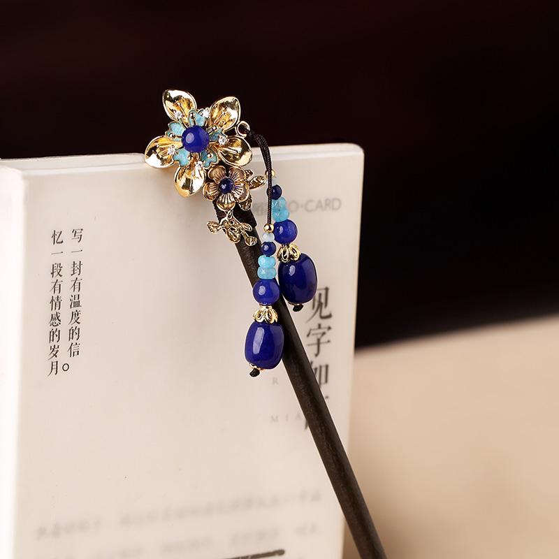 中式手工木簪子,蓝色发簪头饰