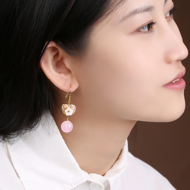 超仙粉色耳坠耳环,唯美少女心首饰