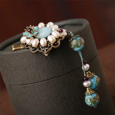淡泊如水发夹:复古珍珠发夹头