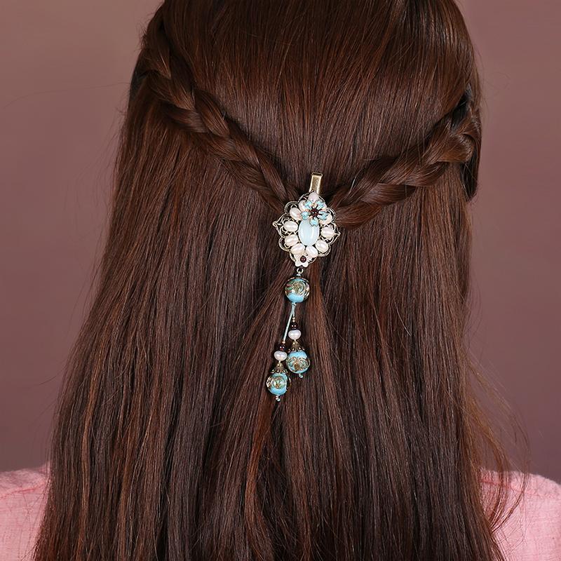 淡泊如水发夹:复古珍珠发夹头饰
