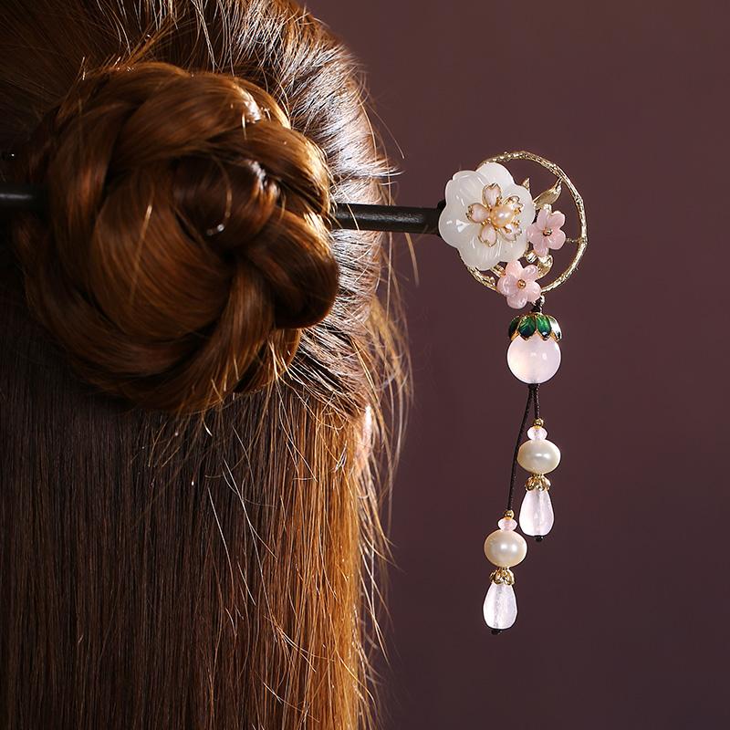 空坐花别发簪:中式古典风簪子头饰