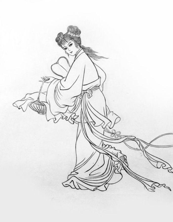 27幅白描仕女图:一笔一画勾勒出仕女美