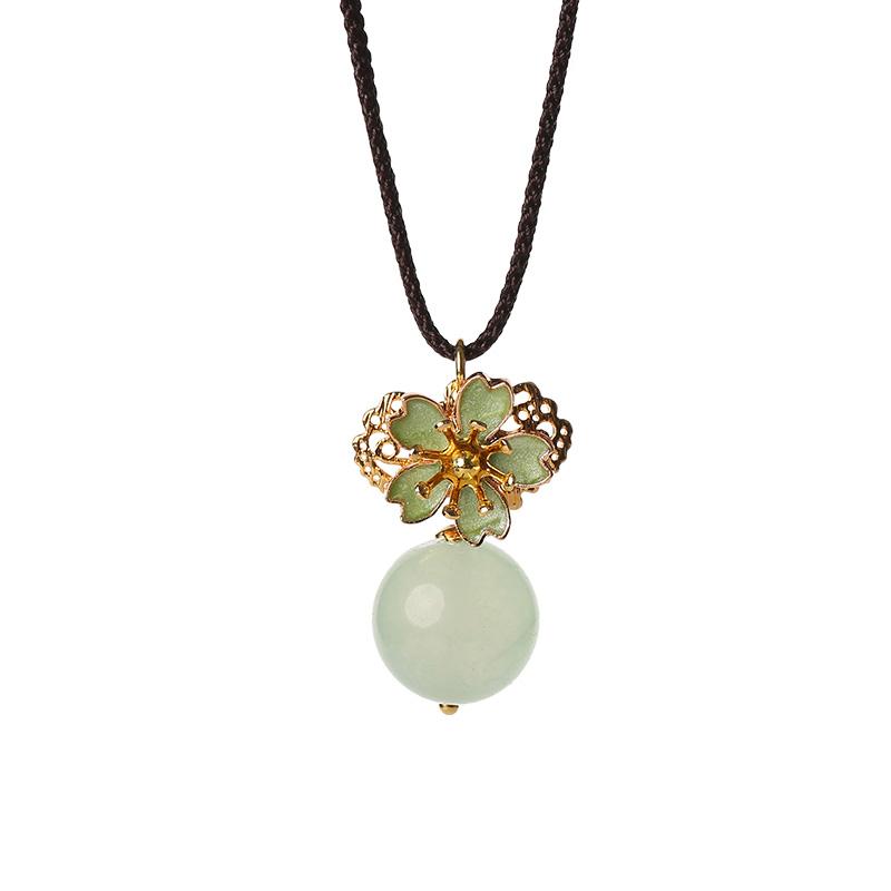 淡绿花朵项链:复古古风清凉首饰