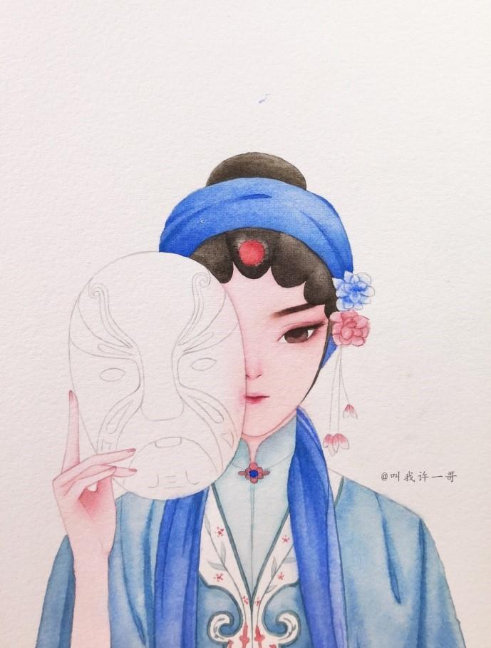 一组京剧花旦手绘水彩步骤图