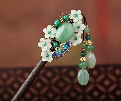 古典韵味发簪:清新翠绿簪子头