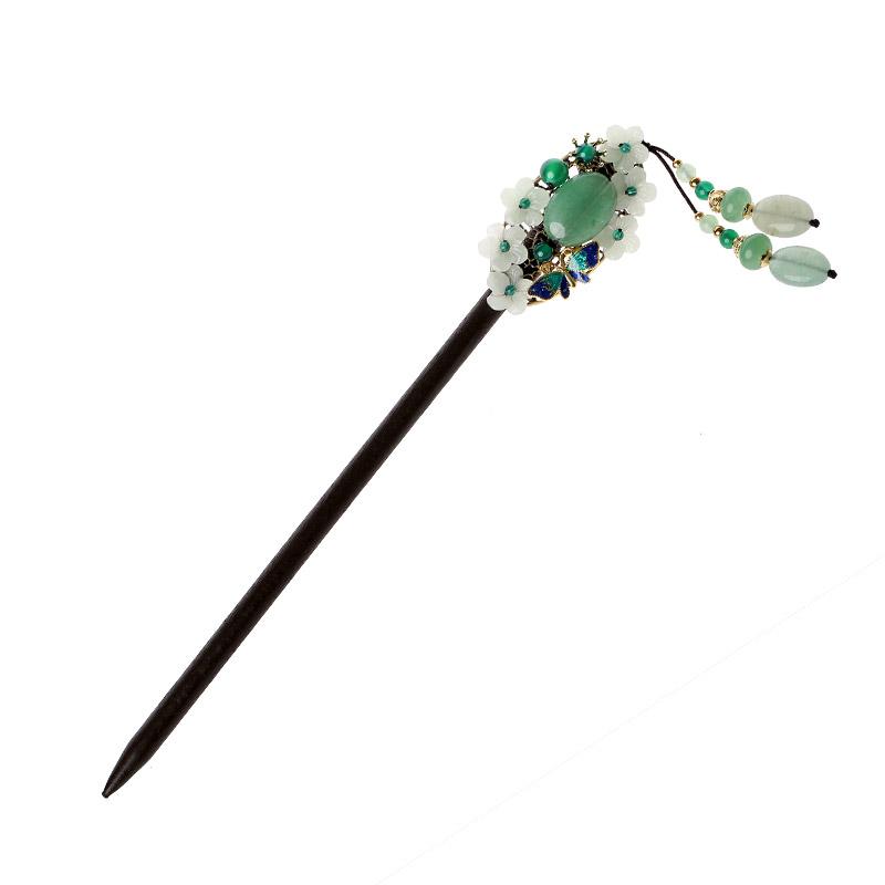 古典韵味发簪:清新翠绿簪子头饰