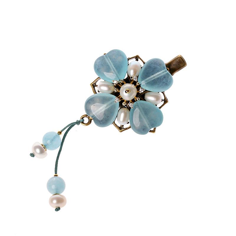 浅蓝清新发夹:古风优雅的头饰