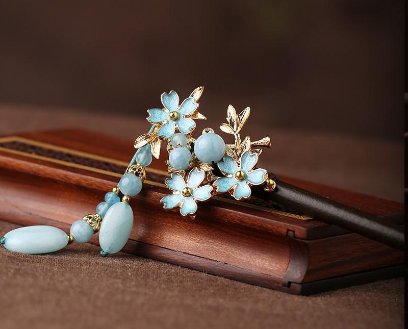 蓝色小花发簪,清秀雅致的古风头饰