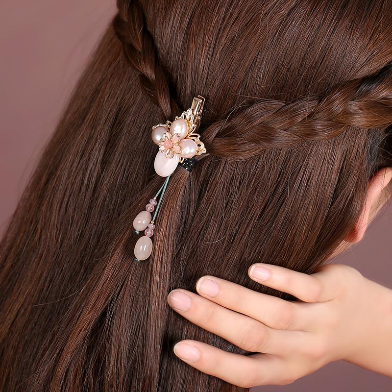 粉嫩珍珠发夹,淡雅精致的古风头饰