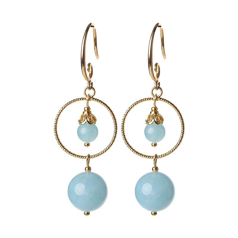 简约蓝色系耳环,精致唯美的古风首饰