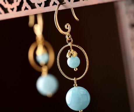 简约蓝色系耳环,精致唯美的古