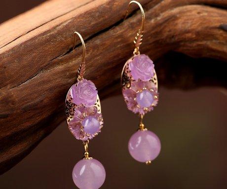 高贵典雅紫色系耳环,优