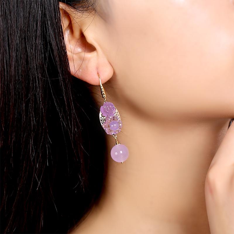 高贵典雅紫色系耳环,优雅妩媚的古风首饰