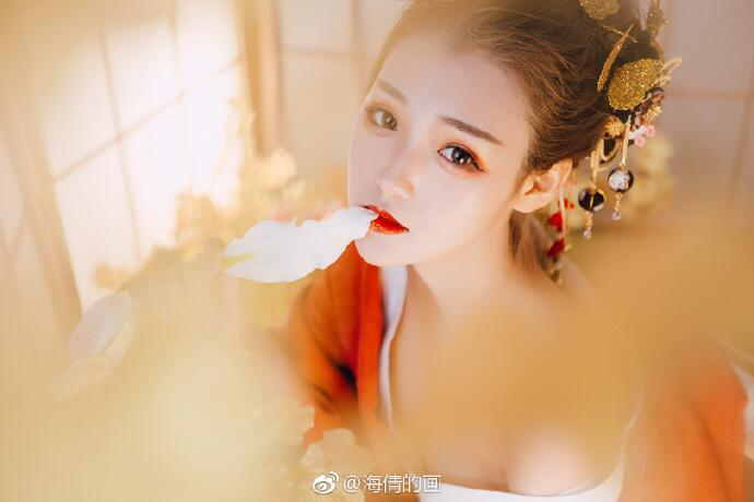 日式和服风古装摄影,好美丽的红衣小姐姐