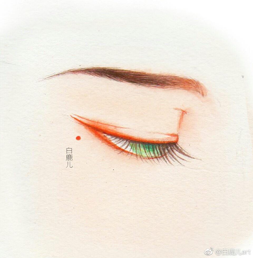 闭眼女子眉眼绘画图集,唯美眼睛古风图片