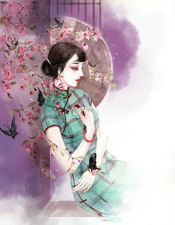 手绘旗袍_水彩旗袍女子图集,超美插画古风图片- 中国风