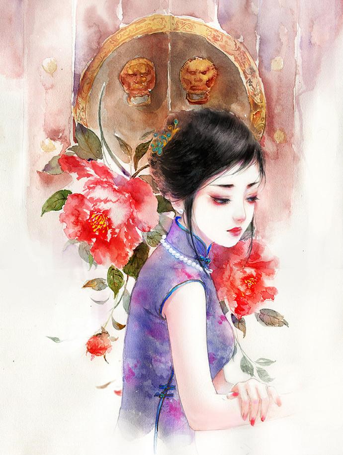 水彩旗袍女子图集,超美插画古风图片