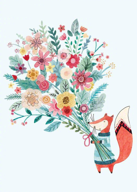 唯美粉色系插画图片,充满少女心的插画图集