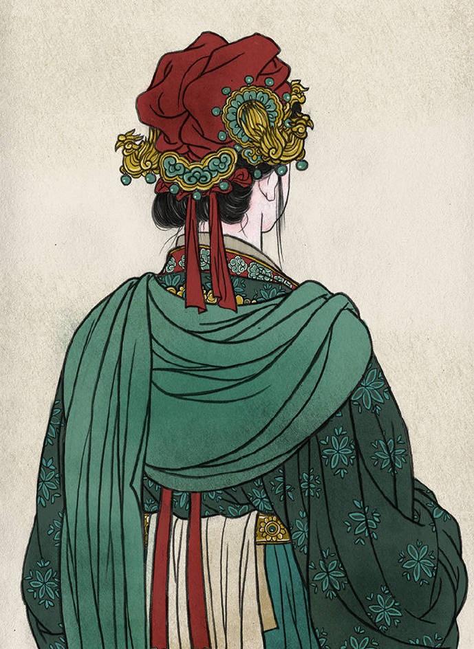 一组古风人物背影插画,古风水彩玲珑背影