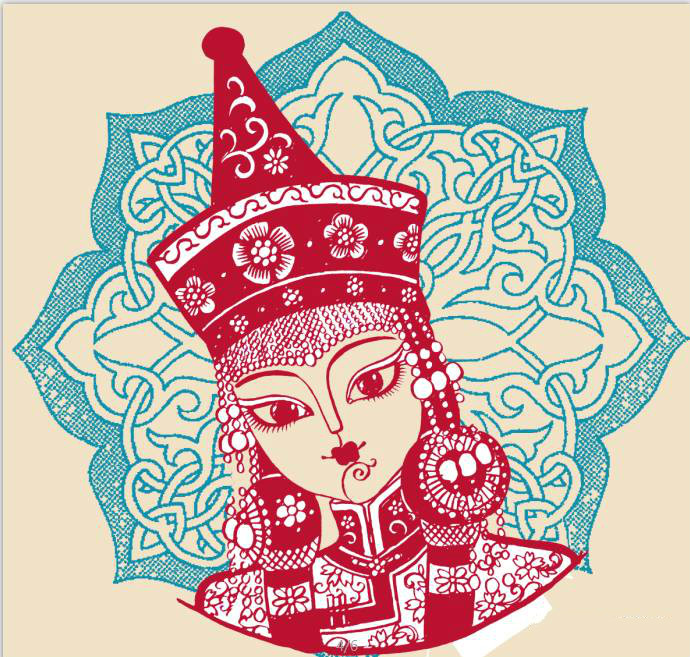 蒙古族美女剪纸,曹文峰剪纸作品欣赏