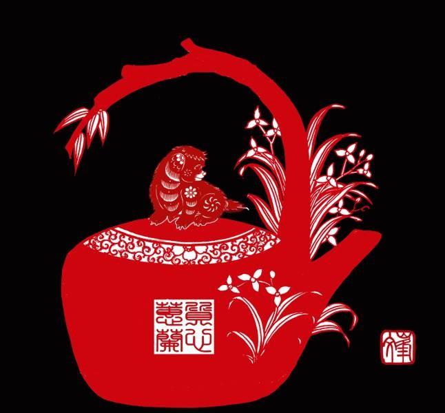百狗图剪纸系列(32张),曹文峰剪纸作品欣赏