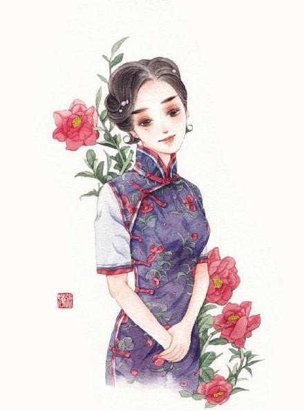 清新水彩旗袍女子插画,唯美的古风插画图集