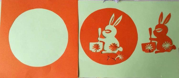 创意十足中秋玉兔剪纸,兔子闹仲秋