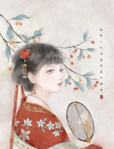 手绘美人古风图片欣赏:美人如玉更迷人!
