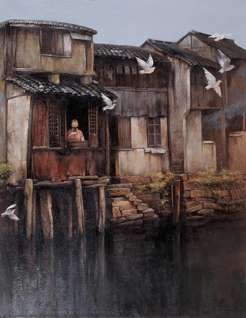中国画写意人物_寂寞的老屋油画作品欣赏- 中国风